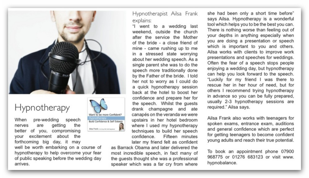 Article about hypnotherapy for wedding speech stress featuring Ailsa Frank Build Confidence and self esteem CD in the Getting Married Magazine
