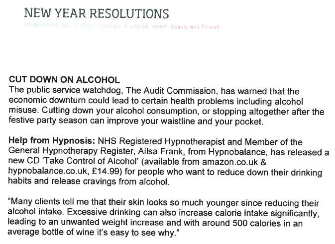 Home etc article about Ailsa Frank Hypnotherapy CD take control of alcohol