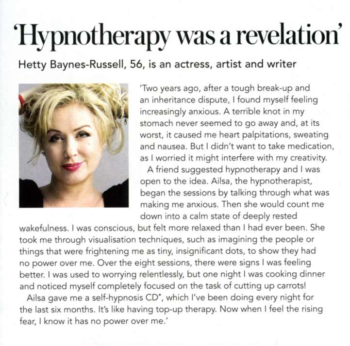 Hypnotherapy was a revelation - Hetty Baynes-Russell   Top Sante Magazine